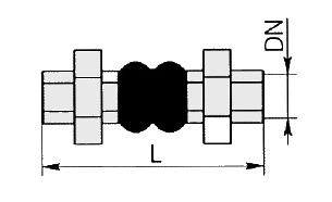 Компенсатор резиновый муфтовый КР-МУФ. Чертеж