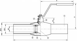 Кран шаровый Dendor W3515. Чертеж
