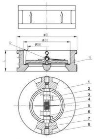 1 - корпус; 2 - диск; 3 - шток; 4 - пружина; 5 - шайба; 6 - шайба; 7 - уплотнение; 8 - шпилька; 9 - уплотнение.