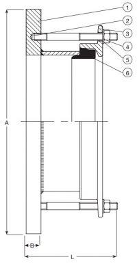 Переходник AVK 52/260 сборный для чугунных, стальных и ПВХ труб. Компоненты и размеры