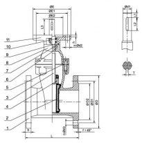1 - корпус; 2 - клин; 3 - шпиндель; 4 - гайка шпинделя; 5 - уплотнение крышки; 6 - уплотнение (кольцо); 7 - кольцо; 8 - крышка; 9 - кольцо; 10 - уплотнение (кольцо).