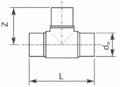 Тройник 90° ПЭ100 литой удлиненный равносторонний. Чертеж