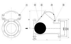 1 - болт; 2 - шар; 3 - корпус; 4 - крышка; 5 - уплотнение крышки.