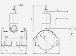 Вентиль для врезки под давлением ПЭ100 (SDR11) с удлиненным выходным патрубком Frialen серии DAV. Чертеж