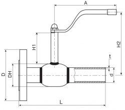Кран шаровый Ballomax серии КШТ 60.104. Размеры
