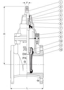 Задвижка чугунная клиновая фланцевая AVK 06/30. Компоненты