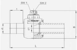 Кран шаровый ПЭ100-ВП (SDR11) на четверть оборота Frialen серии KH. Чертеж