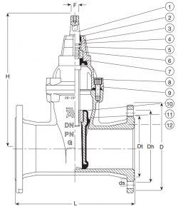 Задвижка чугунная клиновая фланцевая AVK 02/60. Компоненты