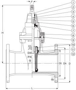Задвижка чугунная клиновая фланцевая AVK 50/60. Компоненты