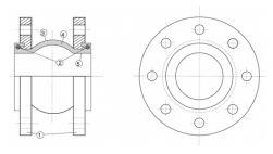 1 - фланец; 2 - кольцо; 3 - внешний слой; 4 - каркаc; 5 - внутренний слой.