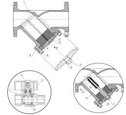1 — корпус; 2 — крышка; 3 — фильтрующий элемент (сетка); 4 — прокладка; 5 — шпилька; 6 — гайка; 7 — спускное устройство в виде пробки; 8 — магнит; 9 — шайба; 10 — трубка; 11 — рукоятка; 12 — запорный шар; 13 — шток.