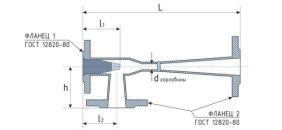 Элеватор водоструйный 40С10БК. Размеры