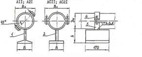 Чертёж опоры приварной тавровой. Исполнения: А11; А21; АС11 ; АС21