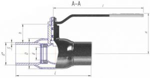 Кран шаровый стальной ALSO приварка/приварка (DN65-100 PN25) редуцированный. Основные размеры