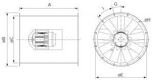 Вентилятор осевой высокотемпературный Systemair серии AXCBF. Размеры