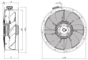 Вентилятор осевой низкого давления Systemair серии AR Selio. Размеры