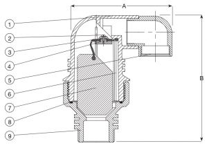 Клапан воздушный комбинированный AVK 701/40. Компоненты и размеры