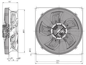 Вентилятор осевой низкого давления Systemair серии AW Selio EC. Размеры