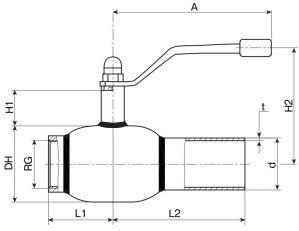 Кран шаровый Ballomax серии КШТ 60.101. Размеры