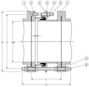 Соединитель AVK 59/265 демонтируемый для труб и арматуры с фланцами. Компоненты и размеры