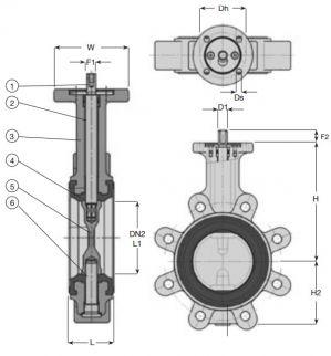 Затвор дисковый поворотный концентрический AVK 76/71. Компоненты и размеры