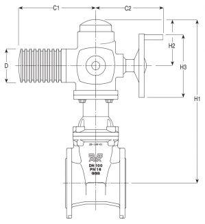 Задвижка чугунная с электроприводом клиновая фланцевая AVK 15/72. Компоненты