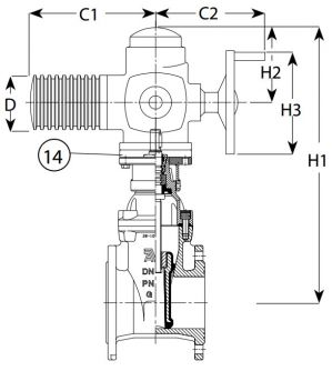 Задвижка чугунная клиновая фланцевая AVK 15/78 с электроприводом. Компоненты
