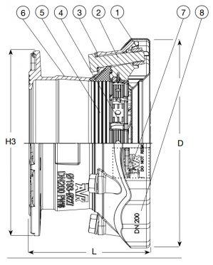 Адаптер AVK 633 фланцевый универсальный SUPA MAXI. Компоненты и размеры