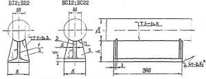 Чертёж опоры приварной тавровой. Исполнения: Б12; Б22; БС 12; БС 22