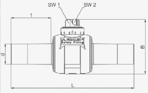Кран шаровый ПЭ100-ВП (SDR11) на четверть оборота Frialen серии KHP. Чертеж