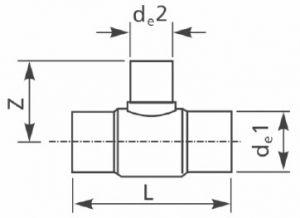 Тройник 90° ПЭ100 литой редукционный равносторонний. Чертеж