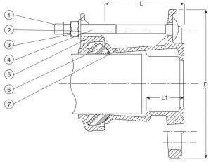 Переходник AVK 603 фланец раструбный. Компоненты и размеры