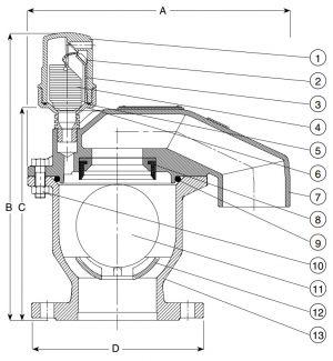 Клапан воздушный комбинированный AVK 701/50. Компоненты и размеры