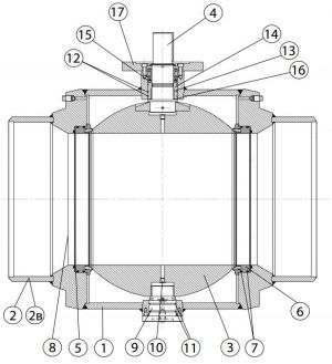 Кран шаровой БРОЕН БАЛЛОМАКС DN 600-800, РN 25, стандартный проход, серии КШН 21.102, КШН 21.103. Детали