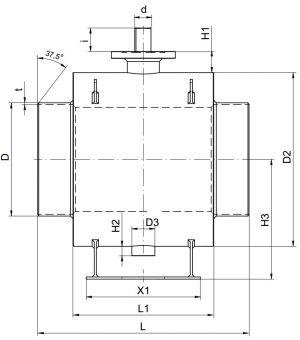 Кран шаровый Ballomax для керосина и светлых нефтепродуктов серии КШН 21.112, DN 250-800