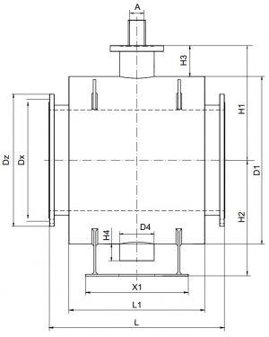 Кран шаровый Ballomax серии КШТ 61.113 DN 350-1000. Размеры