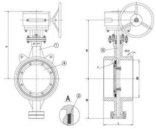 1 - корпус; 2 - уплотнение; 3 - шток; 4 - диск.