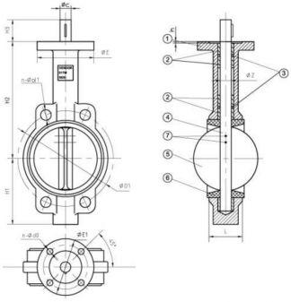 1 - корпус; 2 - подшипниковые втулки; 3 - уплотнение штока (кольцо); 4 - шток; 5 - диск; 6 - седло; 7 - штифты.