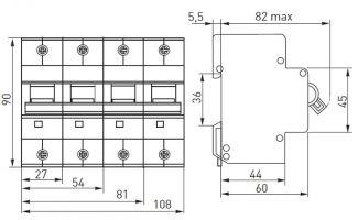 Габариты и установочные размеры автоматических выключателей EKF серии ВА 47-125