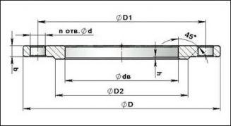Фланец плоский приварной стальной. ГОСТ 12820-80. Чертеж общего вида.