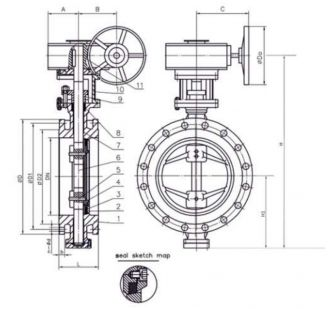 1 - корпус; 2 - крышка; 3 - уплотнение в узле затвора; 4 - диск; 5 - штифт; 6 - шток; 7 - уплотнение штока; 8 - уплотнение; 9 - прижимная втулка; 10 - бугель; 11 - редуктор.