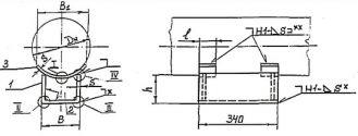 Чертёж опоры КП исполнений Б13, Б23, БС13, БС23