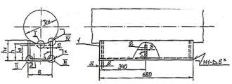 Чертёж опоры КП исполнений Б12, Б22, БС12, БС22