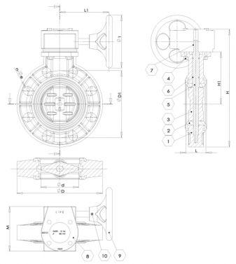 1 - корпус; 2 - уплотнение; 3 - диск; 4 - болт; 5 - шток; 6 - уплотнение штока; 7 - ключ; 8 - редуктор; 9 - штурвал; 10 - болт.