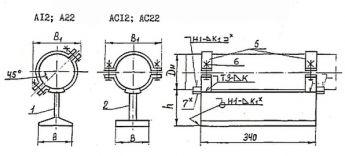 Чертёж опоры приварной тавровой. Исполнения: А12; А22; АС12; АС22