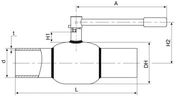 Кран шаровый Ballomax серии КШН 20.102, КШН 20.103, DN 10-50. Размеры