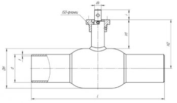 Кран шаровый Ballomax серии КШГ 71.102 DN 50-100. Размеры