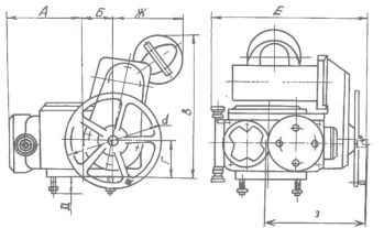 Электропривод для запорной арматуры типа НГ. Размеры 1