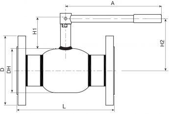 Кран шаровый Ballomax серии КШТ 60.103 DN 65 - 100. Размеры