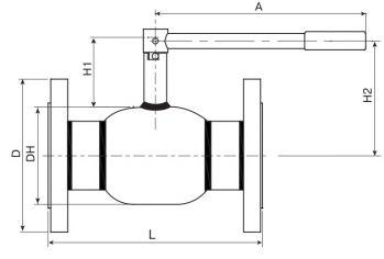 Кран шаровый Ballomax серии КШН 20.103, DN 65-100 PN 25. Размеры